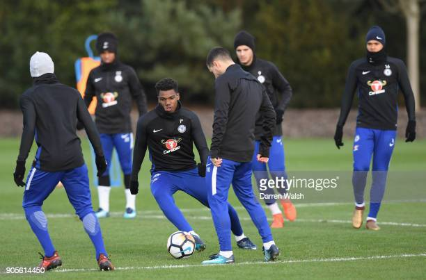 Dujon Sterling of Chelsea during a training session at Chelsea Training Ground on January 16 2018 in Cobham England