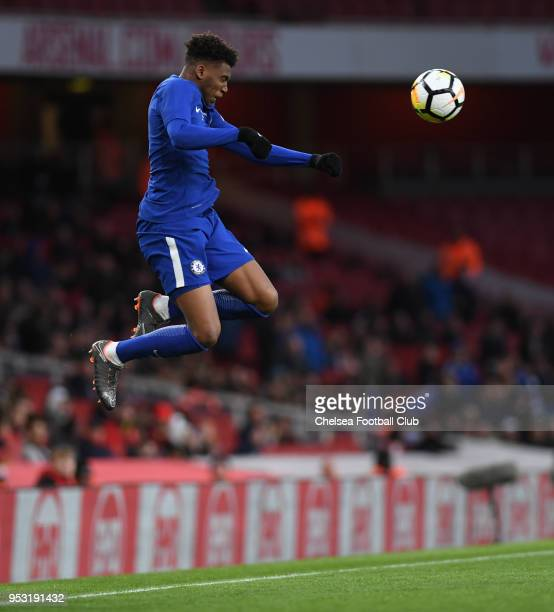 Dujon Sterling of Chelsea during the Arsenal v Chelsea FA Youth Cup Final Second Leg at Emirates Stadium on April 30 2018 in London England