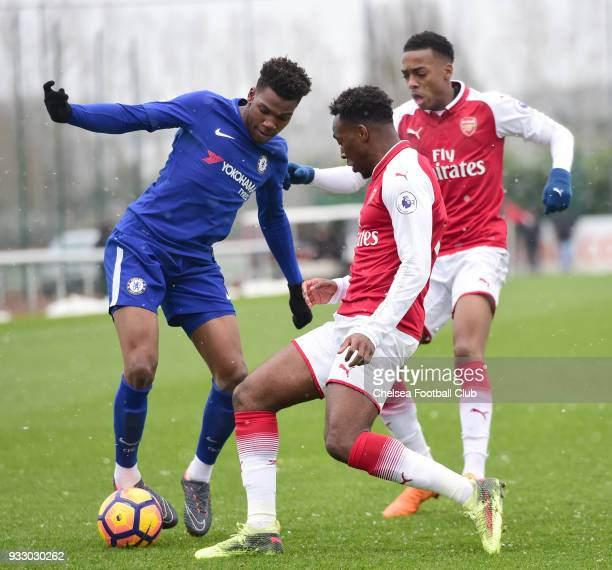 Dujon Sterling of Chelsea during the Premier League 2 between Arsenal and Chelsea U23's at London Colney on March 17 2018 in St Albans England
