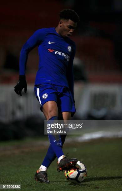 Dujon Sterling of Chelsea in action during the FA Youth Cup match between Tottenham Hotspur and Chelsea at The Lamex Stadium on February 13 2018 in...