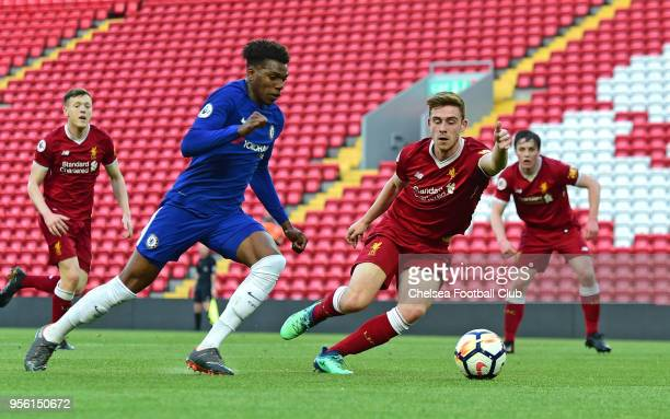 Dujon Sterling of Chelsea in action during the Liverpool and Chelsea Premier League 2 match at Anfield on May 8 2018 in Liverpool England