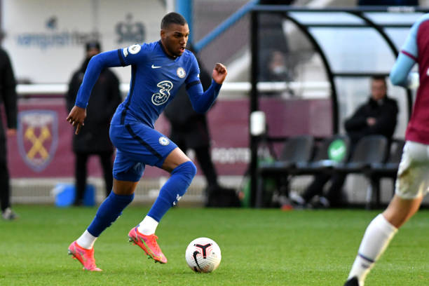 Dujon Sterling of Chelsea runs downtime wing during the West Ham United v Chelsea - Premier League 2 match at Rush Green on April 6, 2021 in Romford,...