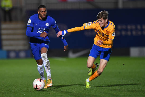 Dujon Sterling of Chelsea runs the ball down the wing during the Premier League 2 match between Chelsea and Everton on March 12, 2021 in Kingston...