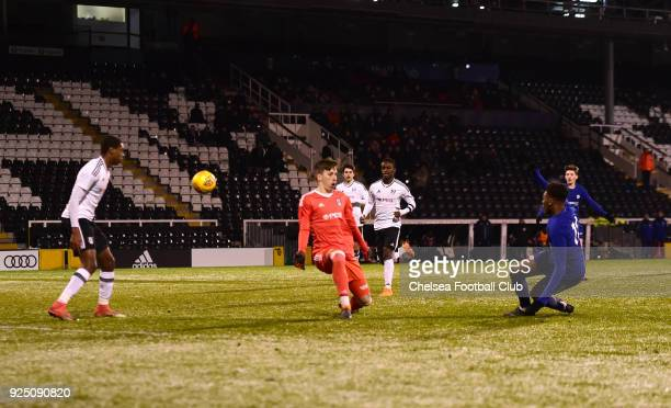Dujon Sterling of Chelsea scores during the FA Youth Cup quarter final match between Fulham and Chelsea at Craven Cottage Fulham on February 27 2018...