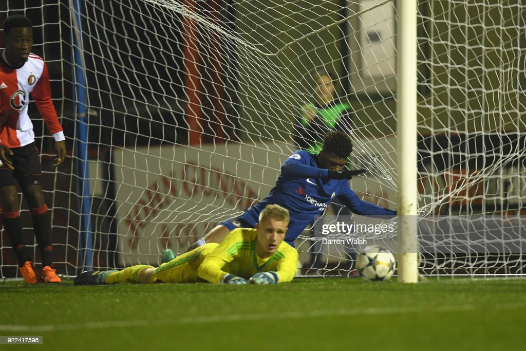 Dujon Sterling of Chelsea scores his goal and Chelsea's 4th during the UEFA Youth League Round of 16 match between Chelsea FC and Feyenoord at EBB Stadium on February 21, 2018 in Aldershot, United Kingdom.