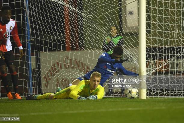 Dujon Sterling of Chelsea scores his goal and Chelsea's 4th during the UEFA Youth League Round of 16 match between Chelsea FC and Feyenoord at EBB...