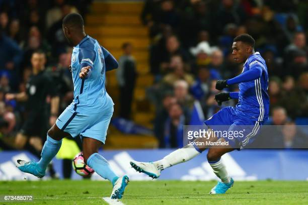 Dujon Sterling of Chelsea scores his sides fourth goal during the FA Youth Cup Final second leg between Chelsea and Mancherster City at Stamford...