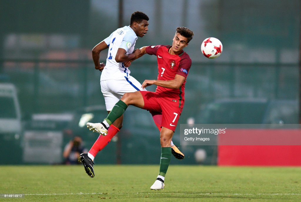 Dujon Sterling of England and Joao Filipe of Portugal battle for the ball during the UEFA European Under-19 Championship Final between England and Portugal on July 15, 2017 in Gori, Georgia.
