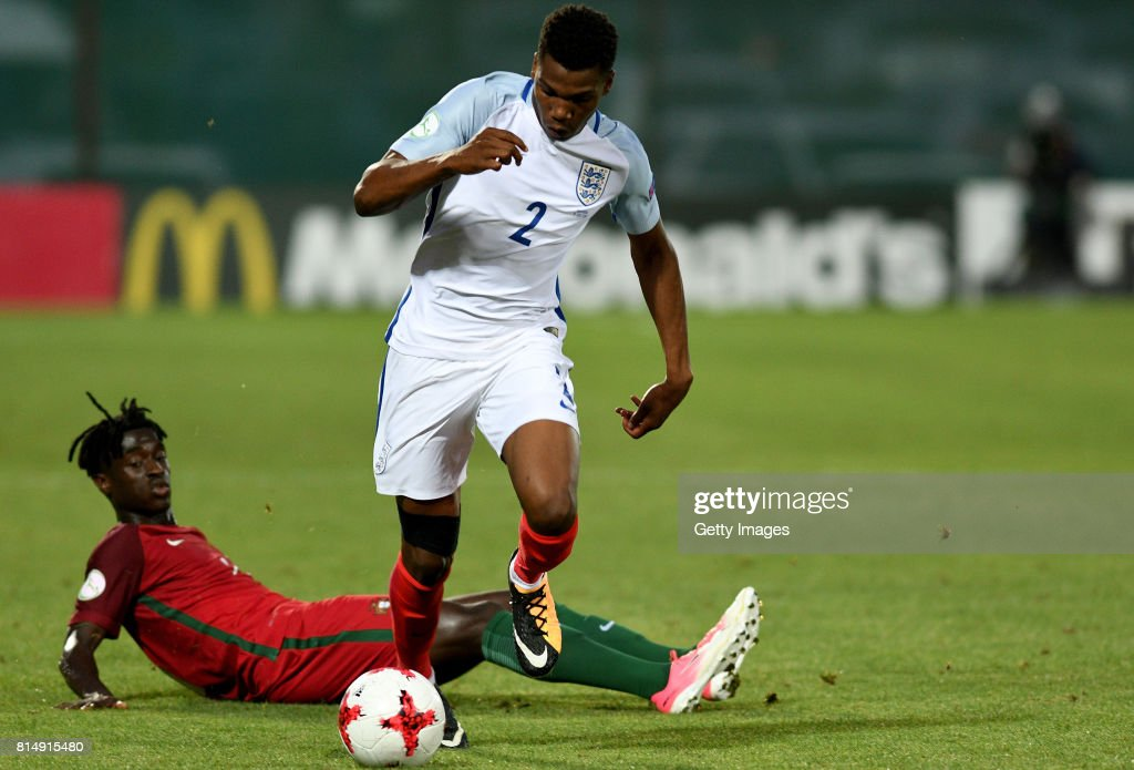 Dujon Sterling of England in action during the UEFA European Under-19 Championship Final between England and Portugal on July 15, 2017 in Gori, Georgia.
