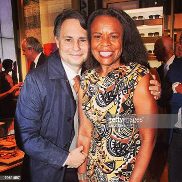 DuJour Media Founder Jason Binn and Teri Agins of Wall Street Journal post at the Vince Camuto Flagship Opening with Adriana Lima in collaboration...