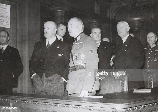 Duke Adolf Friedrich of Mecklenburg [left] and Mayor of Berlin Dr Heinrich Sahm [behind] and Duke August of SaxeCoburgGotha [in uniform] at the...