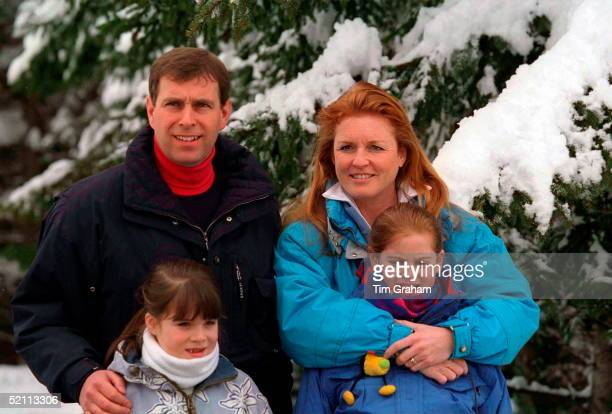 Duke And Duchess Of York On Skiing Holiday With Their Daughters Princess Eugenie And Princess Beatrice In Verbier, Switzerland.