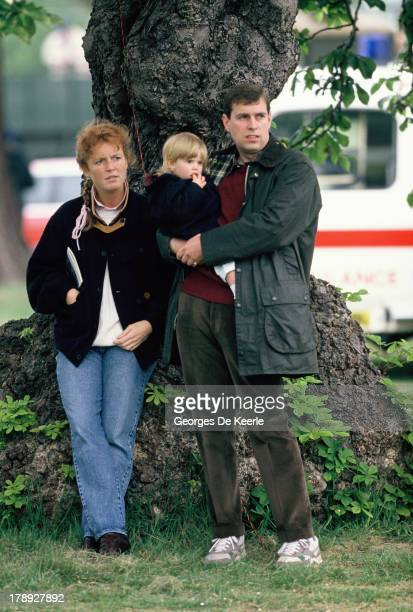 Duke and Duchess of York Sarah and Prince Andrew and their daughter Princess Beatrice at the Royal Windsor Horse Show at Home Park on May 12 1990 in...