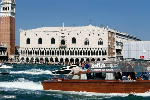 Duke and Duchess of York Sarah and Prince Andrew on a boat in front of Piazza San Marco during their visit to Venice on August 1989 in Venice Italy