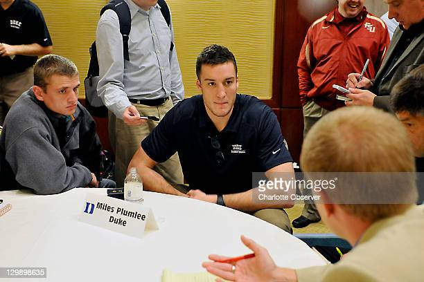 Duke basketball player Miles Plumlee talks with the media during an ACC Operation Basketball event at the Ritz-Carlton in Charlotte, North Carolina,...