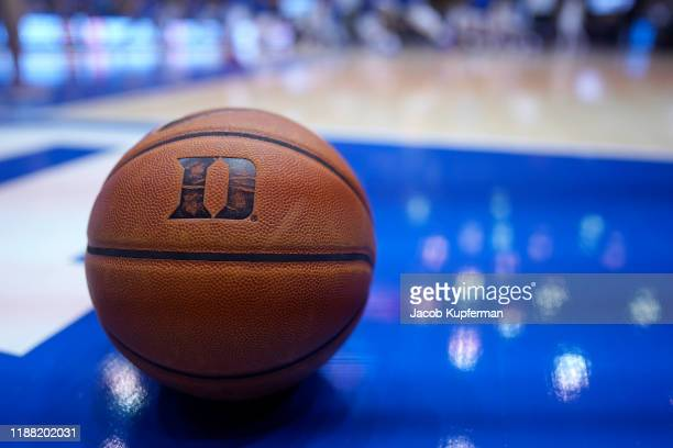 Duke Blue Devils basketball with the logo before their game against the Georgia State Panthers at Cameron Indoor Stadium on November 15, 2019 in...