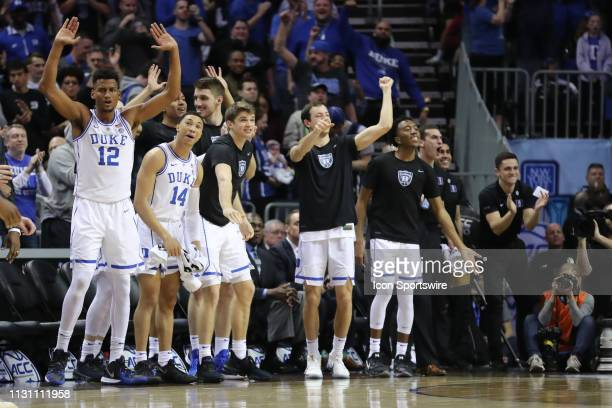 Duke Blue Devils bench celebrates during the 2nd half the of the ACC Tournament championship game with the Duke Blue Devils versus the Florida State...