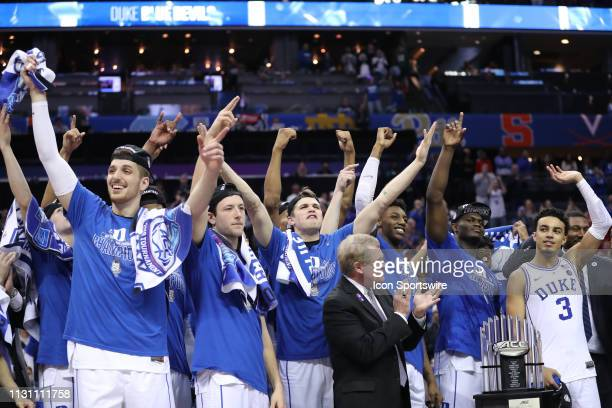 Duke Blue Devils celebrate at the end of the of the ACC Tournament championship game with the Duke Blue Devils versus the Florida State Seminoles on...