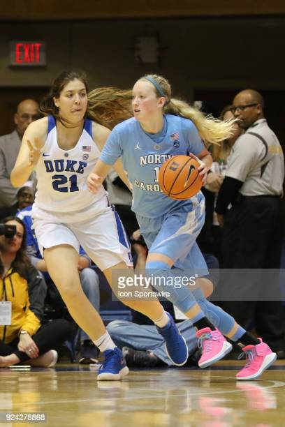 Duke Blue Devils center Bego Faz Davalos and North Carolina Tar Heels guard Taylor Koenen during the 1st half of the Women's Duke Blue Devils game...