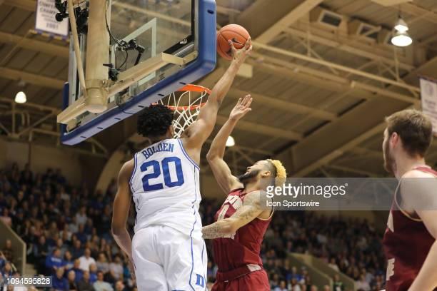 Duke Blue Devils center Marques Bolden dunks against Boston College Eagles guard Ky Bowman during the 2nd half of the Duke Blue Devils game versus...