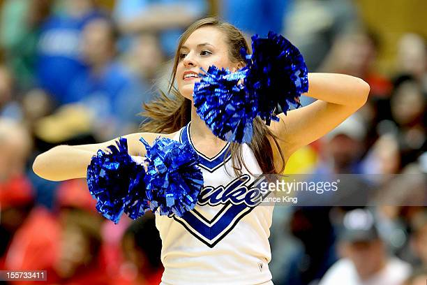 Duke Blue Devils cheerleader performs during a break in the game against the WinstonSalem State Rams at Cameron Indoor Stadium on November 1 2012 in...