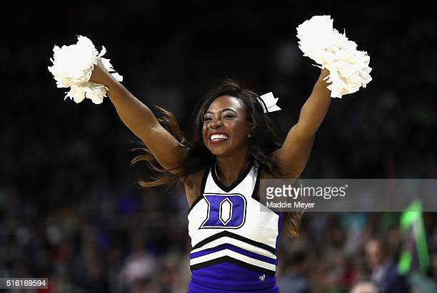 Duke Blue Devils cheerleader performs during the game between the North CarolinaWilmington Seahawks and the Duke Blue Devils in the first round of...
