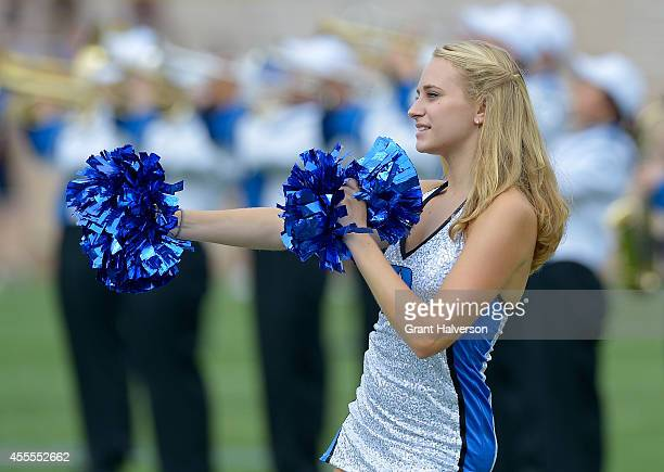 Duke Blue Devils cheerleader performs during their game against the Kansas Jayhawks at Wallace Wade Stadium on September 13 2014 in Durham North...
