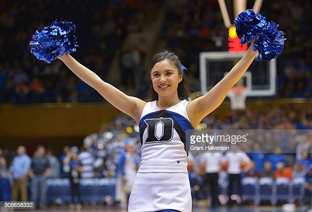 Duke Blue Devils cheerleader performs during their game against the Syracuse Orange at Cameron Indoor Stadium on January 18 2016 in Durham North...