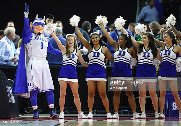 Duke Blue Devils cheerleaders perform during the game between the North CarolinaWilmington Seahawks and the Duke Blue Devils in the first round of...