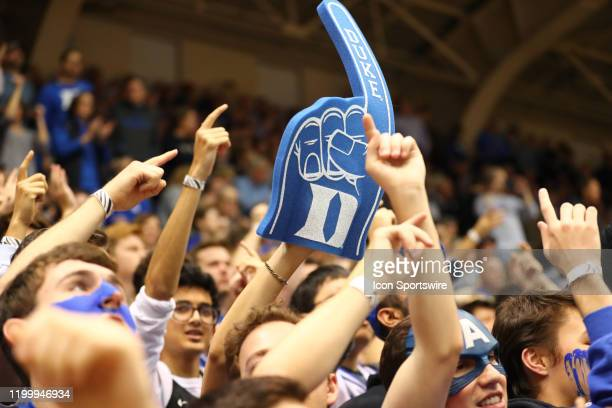 Duke Blue Devils fan foam finger during the 1st half of the Duke Blue Devils game versus the Florida State on February 10th 2020 at Cameron Indoor...