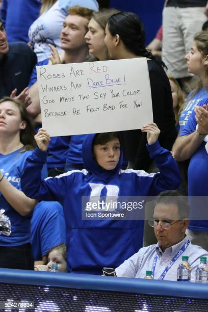 Duke Blue Devils fan with a sign during the 1st half of the Women's Duke Blue Devils game versus the Women's North Carolina Tar Heels on February 25...