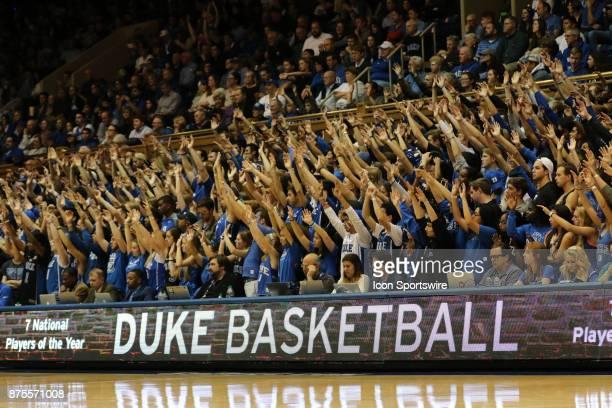 Duke Blue Devils fans during the 2ndt half of the Southern University Jaguars versus Duke Blue Devils on November 17 at Cameron Indoor Stadium in...