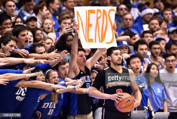 Duke Blue Devils fans taunt Jose Morales of the Princeton Tigers during the second half of their game at Cameron Indoor Stadium on December 18, 2018...