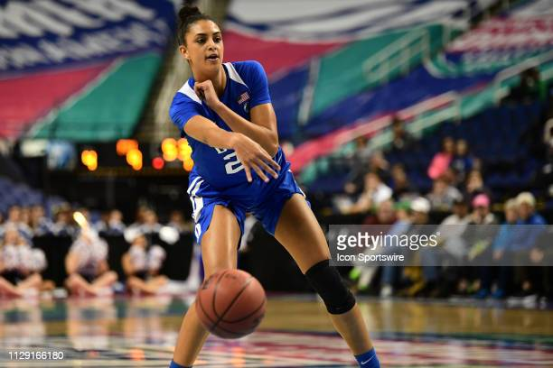 Duke Blue Devils forward Jade Williams passes the ball during the ACC Women's basketball tournament between the Florida State Seminole and the Duke...