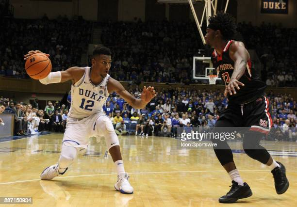 Duke Blue Devils forward Javin DeLaurier and St Francis Red Flash guard Keith Braxton during the 1st half of the Duke Blue Devils game versus the...