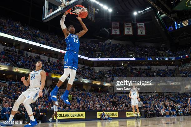 Duke Blue Devils forward Javin DeLaurier goes in for a dunk during the State Farm Champions Classic basketball game between the Duke Blue Devils and...