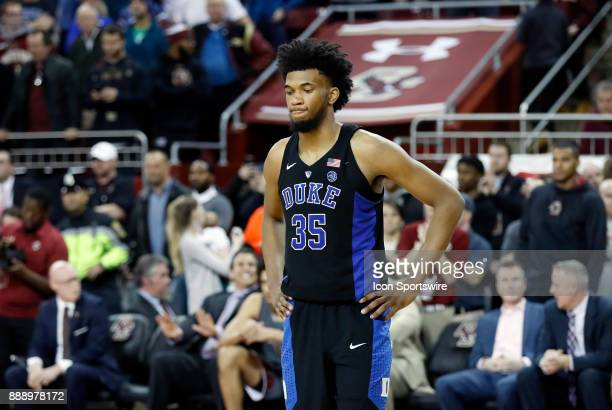 Duke Blue Devils forward Marvin Bagley III can't watch as time expires during a game between the Boston College Eagles and the Duke University Blue...