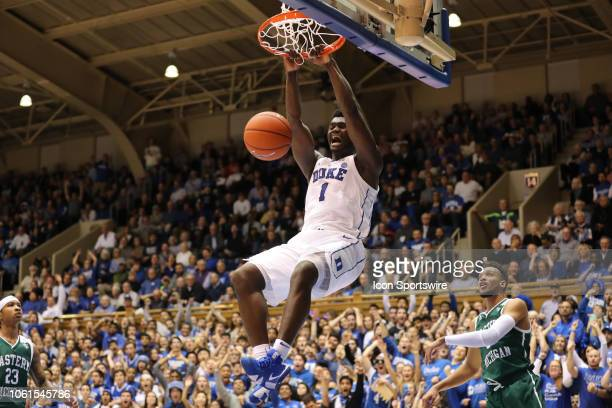 Duke Blue Devils forward Zion Williamson dunks during the 1st half of the Duke Blue Devils game versus the Eastern Michigan Eagles on November 14 at...