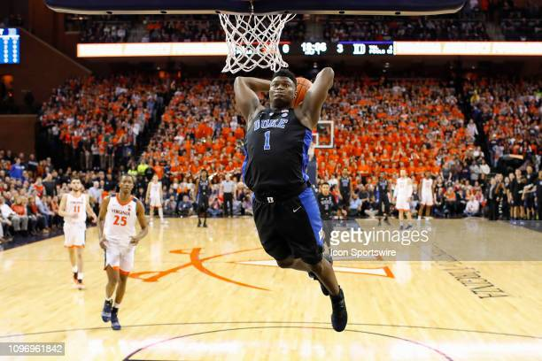 Duke Blue Devils Forward Zion Williamson gets a break away dunk during a game between the Duke Blue Devils and the University of Virginia Cavaliers...