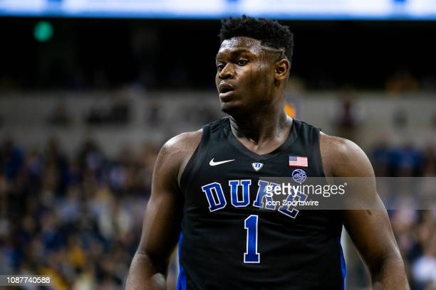 Duke Blue Devils forward Zion Williamson looks on during the college basketball game between the Duke Blue Devils and the Pittsburgh Panthers on...