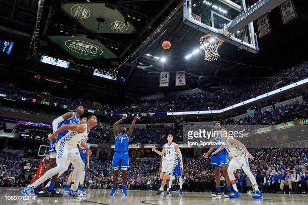 Duke Blue Devils forward Zion Williamson shoots a free throw in action during a Champions Classic game between the Duke Blue Devils and the Kentucky...