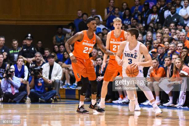 Duke Blue Devils guard Grayson Allen at the top of the key as Syracuse Orange guard Frank Howard defends during the men's college basketball game...