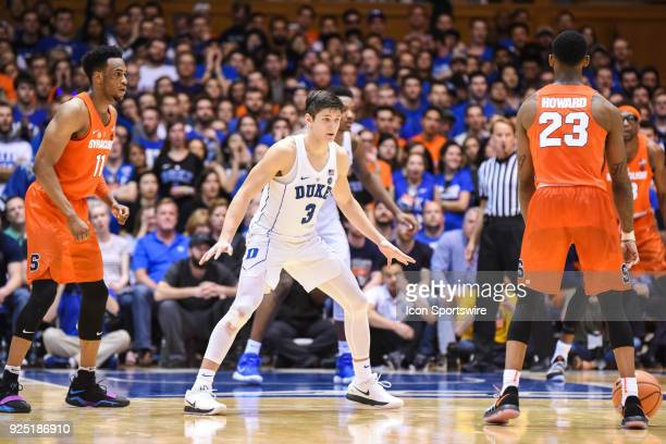 Duke Blue Devils guard Grayson Allen defends Syracuse Orange guard Frank Howard during the men's college basketball game between the Syracuse Orange...