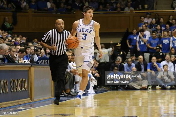 Duke Blue Devils guard Grayson Allen during the 1st half of the Duke Blue Devils game versus the StFrancis on December 05 at Cameron Indoor Stadium...