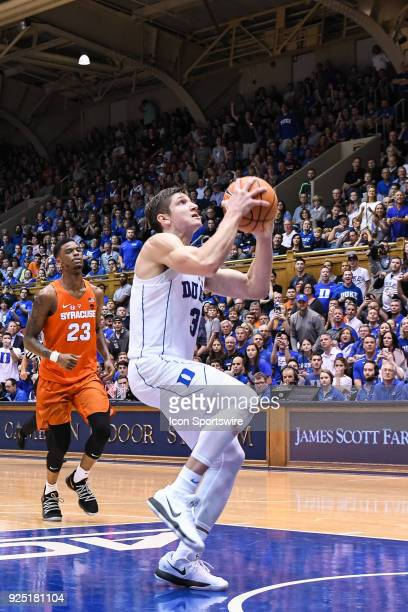 Duke Blue Devils guard Grayson Allen goes in for the layup during the men's college basketball game between the Syracuse Orange and the Duke Blue...