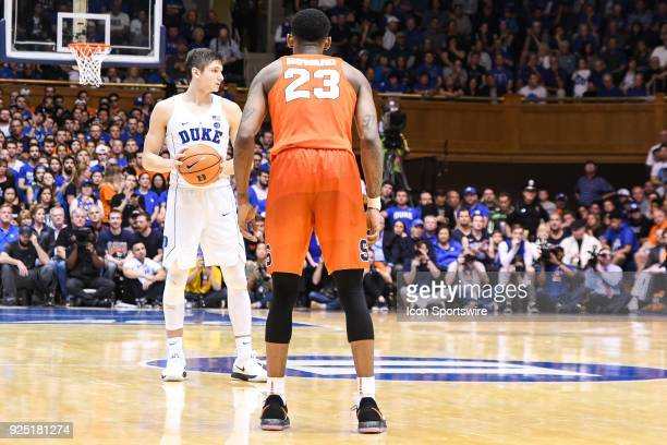 Duke Blue Devils guard Grayson Allen sets up the play as Syracuse Orange guard Frank Howard defends during the men's college basketball game between...
