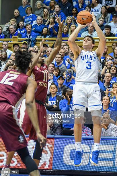 Duke Blue Devils guard Grayson Allen shoots the 3pointer during the men's college basketball game between the Florida State Seminoles and the Duke...