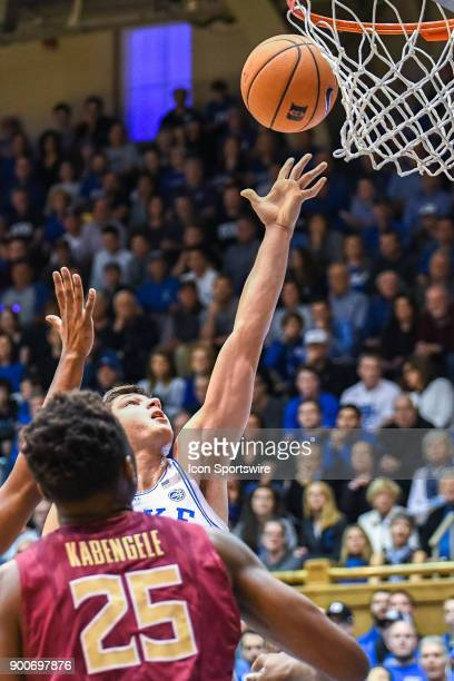Duke Blue Devils guard Grayson Allen shoots the ball during the men's college basketball game between the Florida State Seminoles and the Duke Blue...