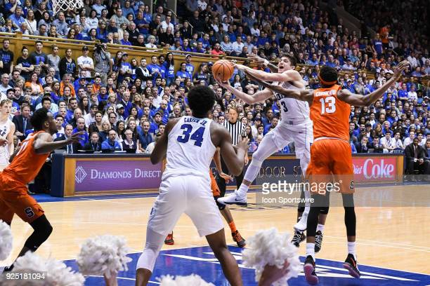 Duke Blue Devils guard Grayson Allen with the off balanced shot during the men's college basketball game between the Syracuse Orange and the Duke...
