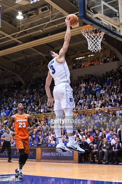 Duke Blue Devils guard Grayson Allen with the slam dunk during the men's college basketball game between the Syracuse Orange and the Duke Blue Devils...